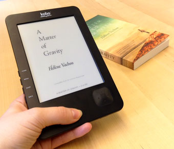 [image: Kobo e-reader displays A Matter of Gravity]