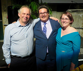[Kevin Williams, Jordan Abel, and Chelsea Novak at the 2017 Griffin Poetry Prize dinner]
