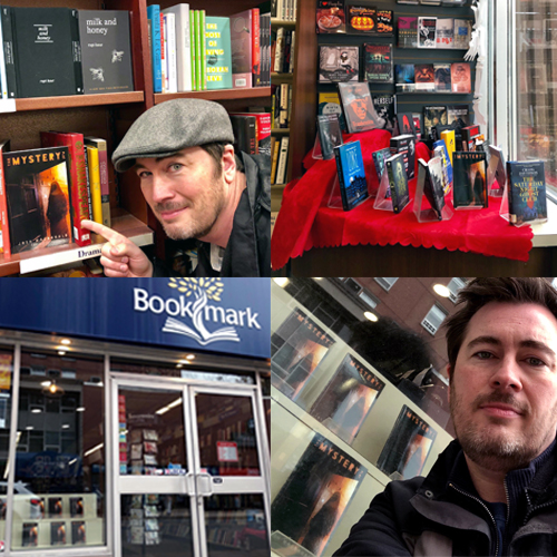 Four photos of author Josh Macdonald with his book, The Mystery Play, at various bookstores