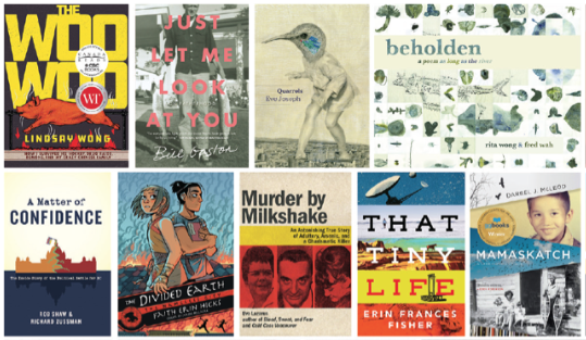 Screenshot of several finalists for BC Book Prizes, including beholden: a poem as long as the river.