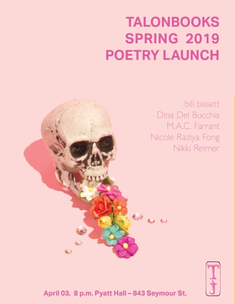 Spring Launch Poster: pink background with floral skull.