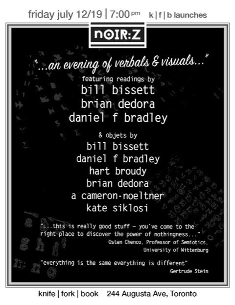 Poster for bill bissett event at Knife | Fork | Book