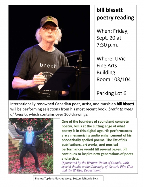 Poster for bill bissett's reading at UVic.