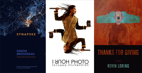Banner including the covers of 1 Hour Photo, Synapses, and Thanks for Giving.