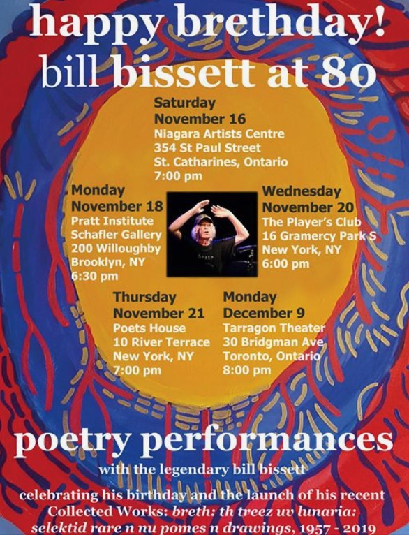 Poster for bill bissett brethday tour