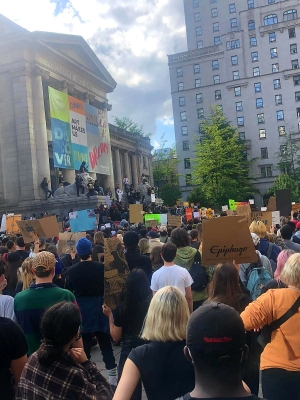 Photo from May 31, 2020, Black Lives Matter demonstration at the Vancouver Art Gallery.